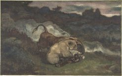 Bear Killing a Bull | Antoine Louis Barye | Oil Painting