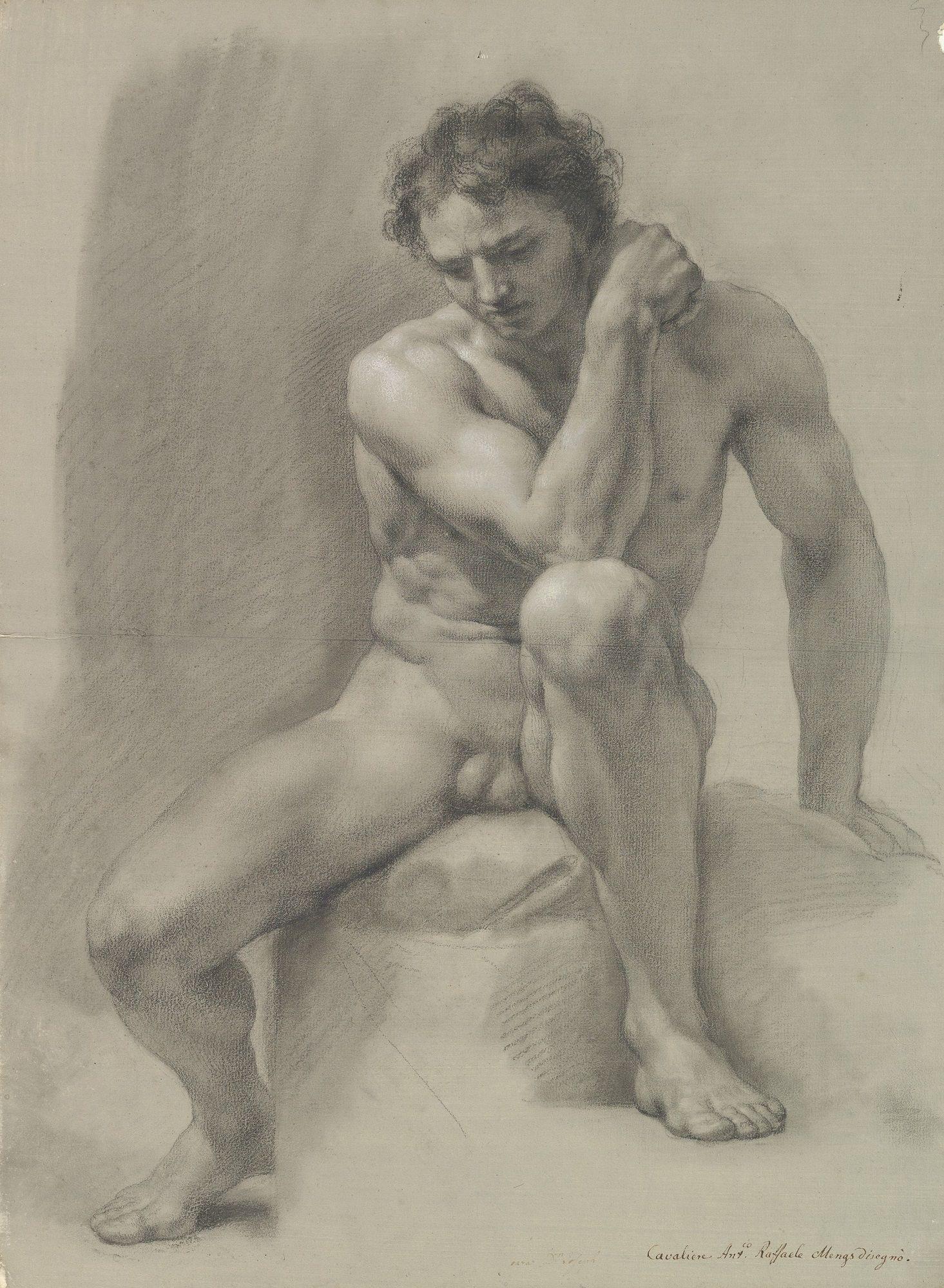 Seated Nude Male Painting  Anton Raphael Mengs Oil Paintings-8586