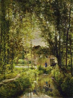 Landscape with a Sunlit Stream   Charles Francois Daubigny   Oil Painting