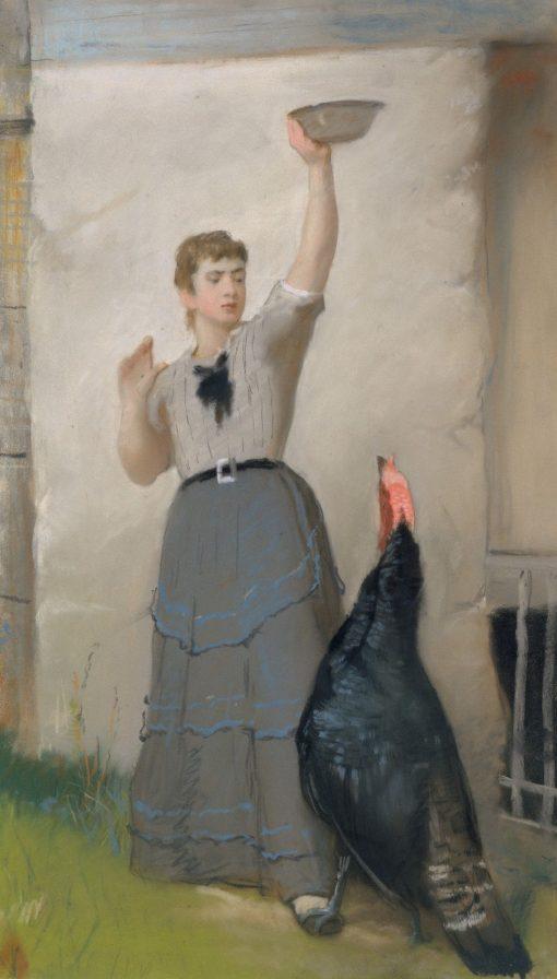 Feeding the Turkey | Eastman Johnson | Oil Painting