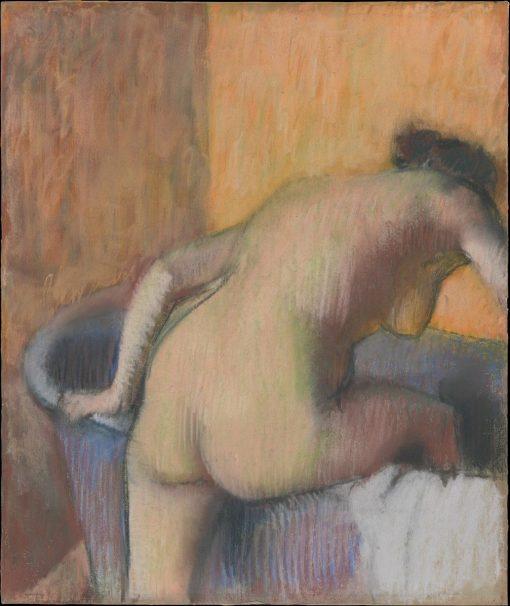 Woman Stepping into a Bathtub   Edgar Degas   Oil Painting
