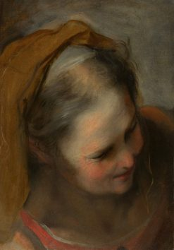 Head of an Old Woman Looking to Lower Right | Federico Barocci | Oil Painting