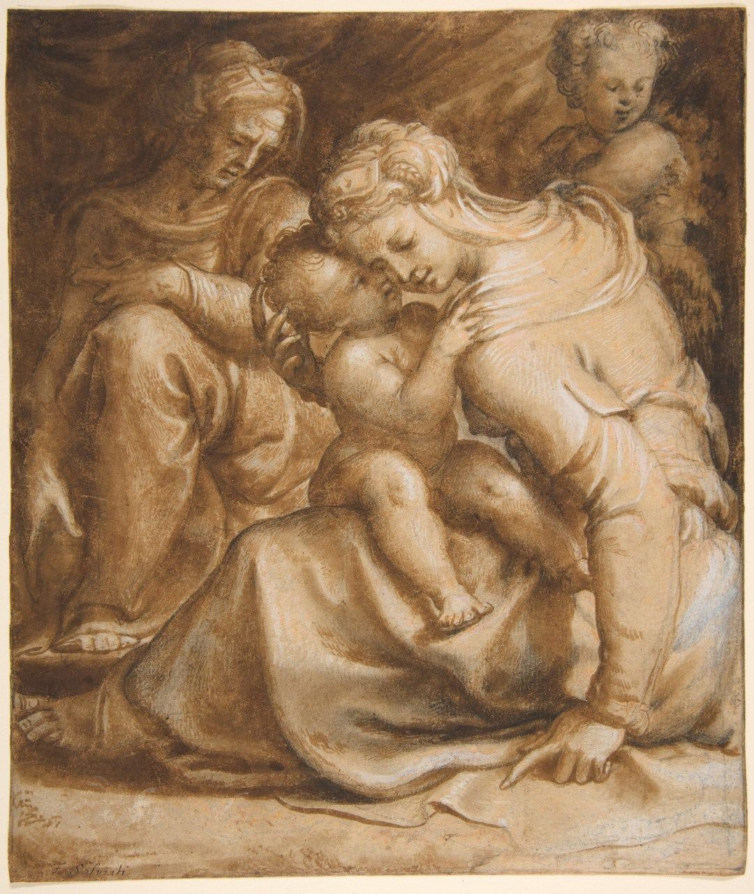 Virgin and Child with Saint Anne and Saint John the Baptist | Francesco Salviati | Oil Painting