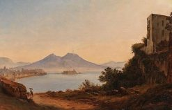 The Bay of Naples with Vesuvius and Castel dell'Ovo   Franz Ludwig Catel   Oil Painting