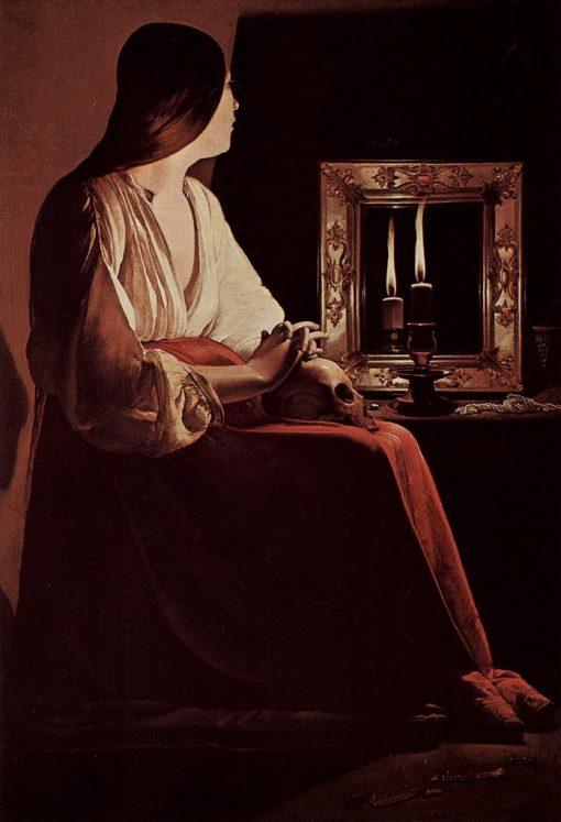 The Penitent Magdalene   Georges de La Tour   Oil Painting