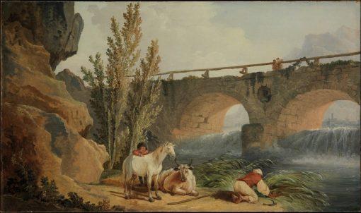 Bridge over a Cascade   Hubert Robert   Oil Painting
