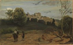 View of Genzano with a Rider and Peasant | Jean Baptiste Camille Corot | Oil Painting