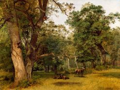 Deer at the Edge of a Wood   Jean Victor Bertin   Oil Painting