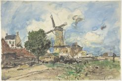 Wind Mill at Antwerp | Johan Barthold Jongkind | Oil Painting