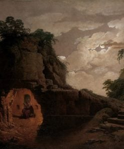 Virgil's Tomb by Moonlight with Silius Italicus Declaiming | Joseph Wright of Derby | Oil Painting