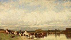 Cows Crossing a Ford | Jules DuprE | Oil Painting