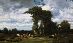 Landscape with Cattle at Limousin | Jules DuprE | Oil Painting