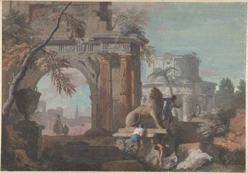Capriccio with Roman Ruins | Marco Ricci | Oil Painting