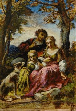 Figures and a Dog in a Landscape | Narcisse Dìaz de la Peña | Oil Painting