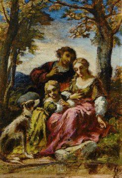 Figures and a Dog in a Landscape | Narcisse Dìaz de la Peña | Oil Painting