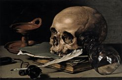 Still Life: Skull and Writing Quill   Pieter Claesz   Oil Painting