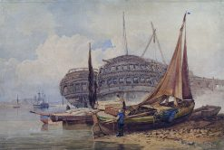Coastal Scene with Beached Boats in Foreground | Samuel Prout | Oil Painting