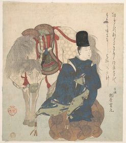 Young Nobleman Crouching beside his Horse | Suzuki Kiitsu | Oil Painting