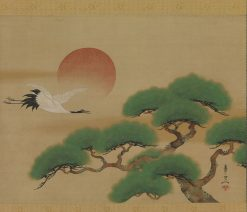 Crane and Pine Tree with Rising Sun | Suzuki Kiitsu | Oil Painting