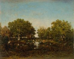 The Pool (Memory of the Forest of Chambord) | ThEodore Rousseau | Oil Painting