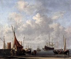 Entrance to a Dutch Port | Willem van de Velde the Younger | Oil Painting