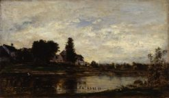 Landscape on the Oise River   Charles Francois Daubigny   Oil Painting