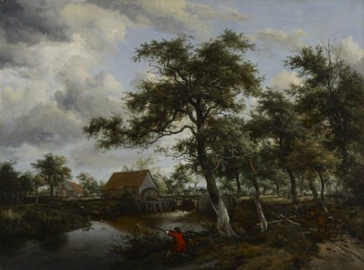 Wooded Landscape with Watermill   Meindert Hobbema   Oil Painting