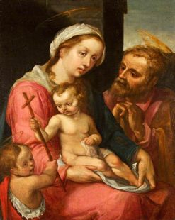 The Holy Family with Saint John the Baptist   Italian School th Century   Unknown   Oil Painting