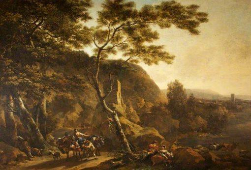 Landscape with Figures   Nicolaes Berchem   Oil Painting