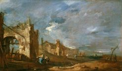 Ruined Buildings and Figures at the Edge of the Lagoon | Francesco Guardi | Oil Painting