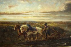 Horses Ploughing | Jules Jacques Veyrassat | Oil Painting