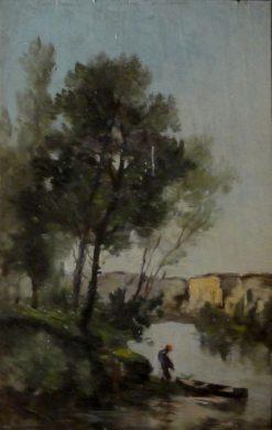 Le pêcheur (The Fisherman)   Charles Francois Daubigny   Oil Painting