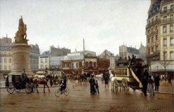 La place Clichy   Edmond Georges Grandjean   Oil Painting