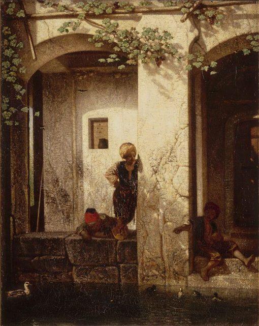 Young Turks Beside a Fountain(also known as Souvenir de la Turquie d'Asie) | Alexandre Gabriel Decamps | Oil Painting