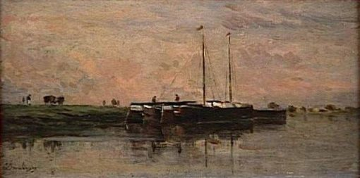 Péniches a Bezons (Canal Boats at Bezon) | Charles Francois Daubigny | Oil Painting