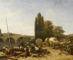 The Port of Saint-Nicolas in Paris | Jules DuprE | Oil Painting