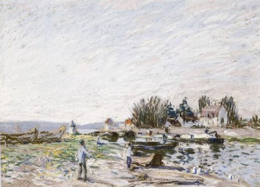 Le Loing a Saint-Mammes(also known as Péniche sur un canal) | Alfred Sisley | Oil Painting