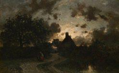 Village Landscape at Sunset | Constant Troyon | Oil Painting