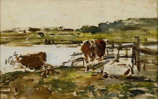 Barriere pres d'une mare avec deux vaches (Fence near a Pond with Two Cows) | Eugene Louis Boudin | Oil Painting