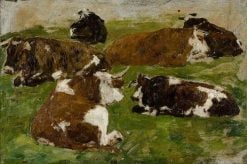 Vaches couchant dans un pré (Cows resting in a Meadow) | Eugene Louis Boudin | Oil Painting