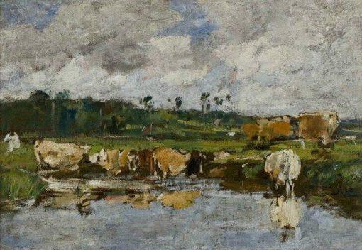 Animaux dans une mare; paysage étude (Animals in a Pond: Landscape Study) | Eugene Louis Boudin | Oil Painting
