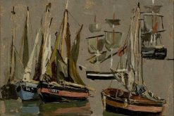 Barques des pêche et voiliers (Fishing and Sailing Boats) | Eugene Louis Boudin | Oil Painting