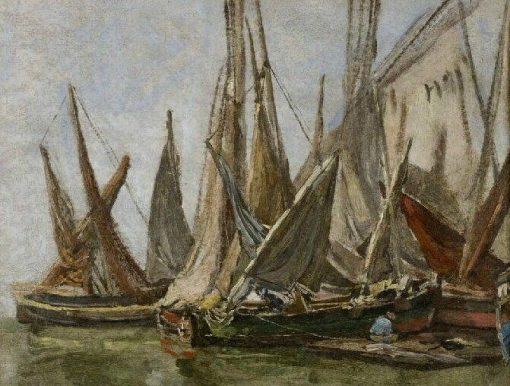 Barques des pêche : Marine | Eugene Louis Boudin | Oil Painting