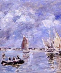 Barques et estacade (Boat and Breakwater) | Eugene Louis Boudin | Oil Painting