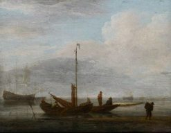 Boat on the Seashore | Willem van de Velde the Younger | Oil Painting