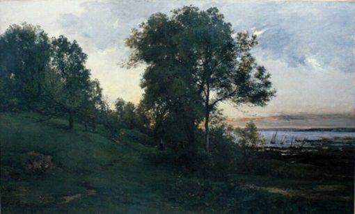 Paysage de bord de mer ; Honfleur (Landscape at Honfleur)   Karl Pierre Daubigny   Oil Painting