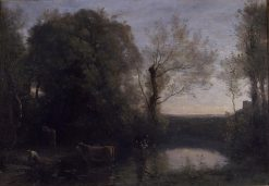 Landscape with Setting Sun | Jean Baptiste Camille Corot | Oil Painting