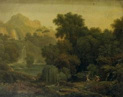 Landscape by a Waterfall with Dancing Fauns | Jean Victor Bertin | Oil Painting