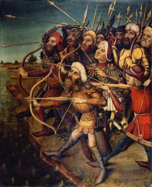 Archers décochant leurs fleches   German School th Century   Unknown   Oil Painting