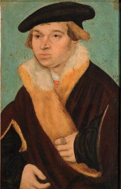 Portrait of a Clean Shaven Young Man in a Cloak   Lucas Cranach the Elder   Oil Painting